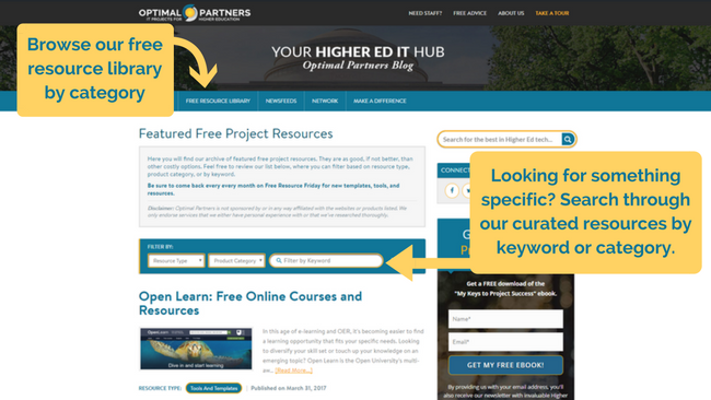 Free Higher Ed IT Project Resources